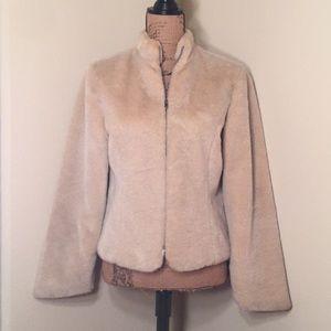 Ideology cream faux fur zipper up jacket size S